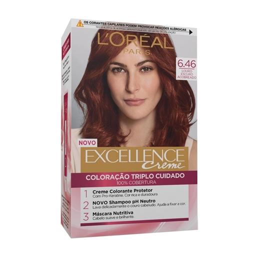 Coloração Permanente Excellence Creme Louro Escuro Acobreado Vermelho 6.46