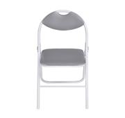 Cadeira Cinzenta Tubo Branco Acolchoado
